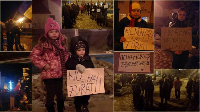 Imagini de la cele 3 zile de proteste care au avut loc si la Ocna Mures. Protestele continua