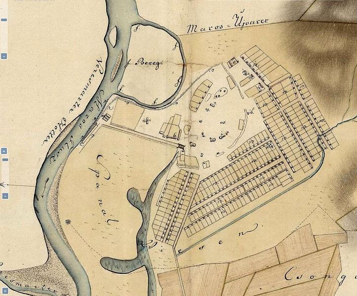 Cartografierea localității Ocna Mureș în anul 1825. Se observă terenul împărțit minerilor și geometria străzilor. Sursa: https://commons.wikimedia.org