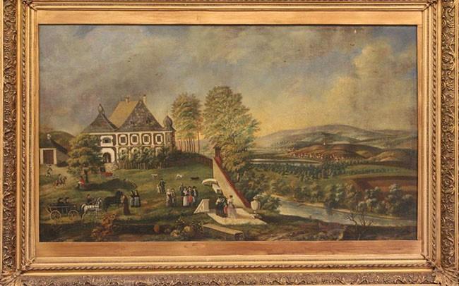 Catelul de la Uioara de Sus. Tablou pictat în ulei de pictorul Joseph Neuhauser în anul 1791. Sursa: https://www.ocnamuresonline.ro