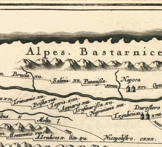 Segmentul VIII din Tabula Peutingeriana pe care este redată localitatea romană SALINIS așezată între Brucla și Potaissa. Sursa: https://www.google.com